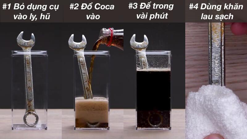cách tẩy rỉ sét bằng coca cola