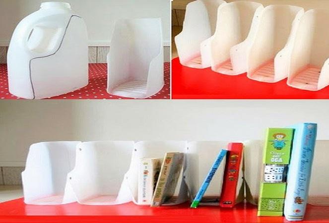 cách tái chế can nhựa thành kệ sách