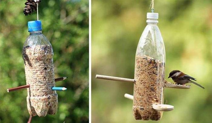 cách tái chế chai nhựa thành đồ đựng thứ ăn cho chim