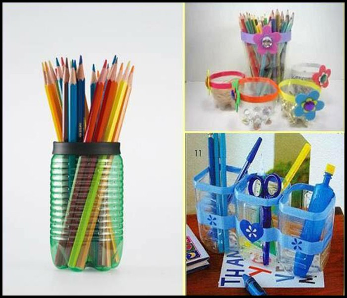 cách tái chế chai nhựa thành hộp đựng bút