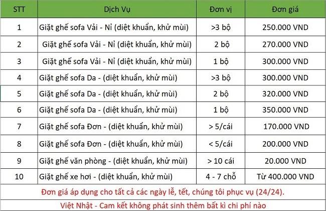 bảng giá dịch vụ giặt ghế sofa tại đà nẵng